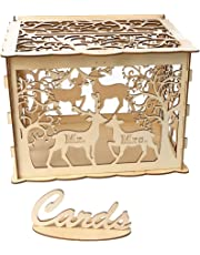 Amosfun DIY Wedding Card Box with Lock Rustic Wood Card Box Gift Card Holder Card Box for Weddings Baby Showers Birthdays