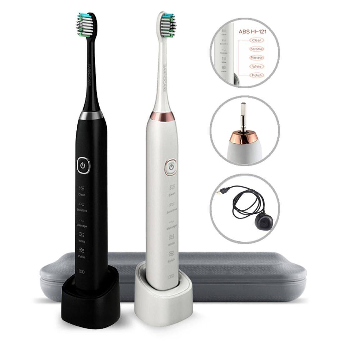 Xindda High Powered Wireless Sonic Electric Rechargeable Toothbrush with Automatic Timer for Business Travel and Home, 5 brushing modes & IPX7 waterproof design - S100 (White)