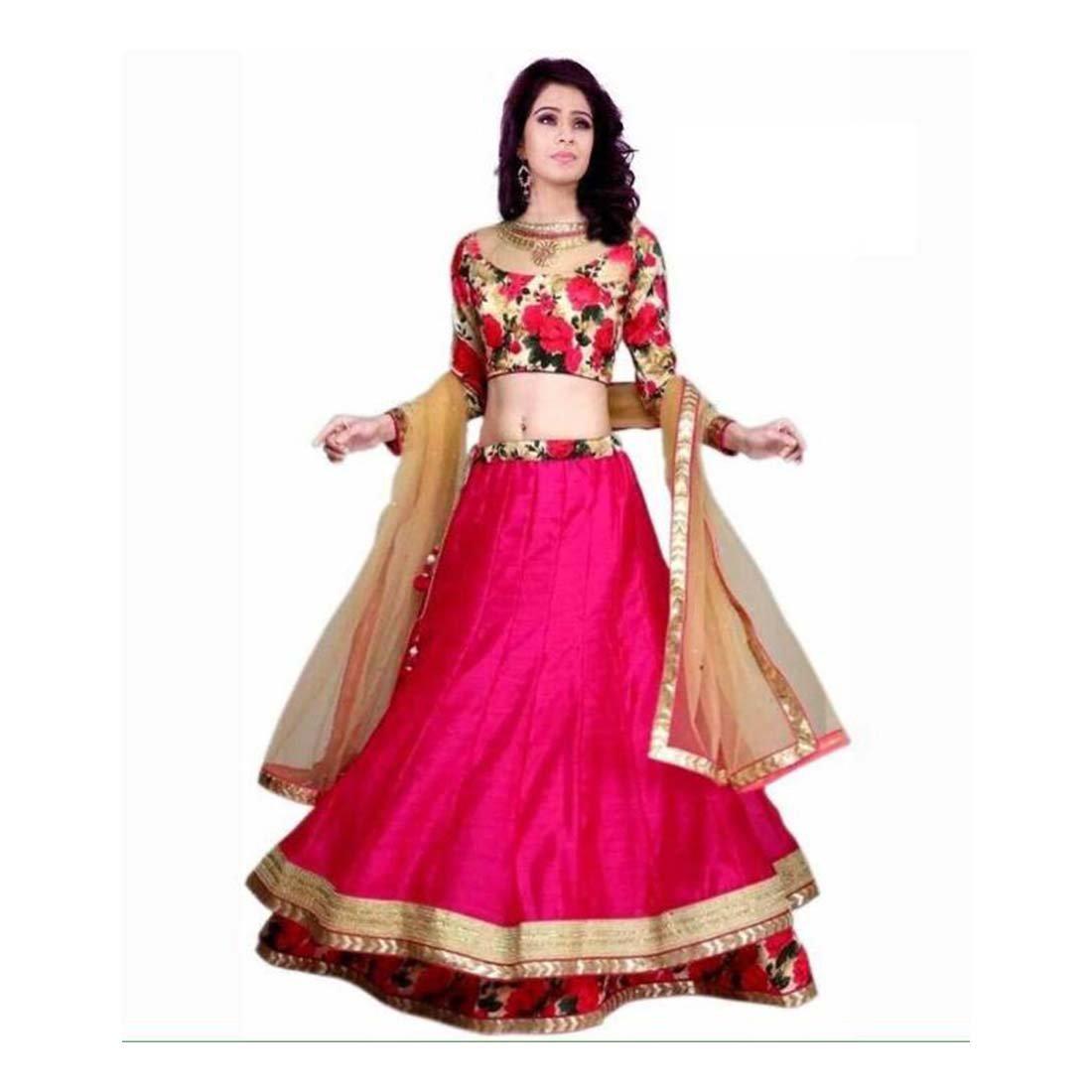 Floral Print Ghagra, Choli, Dupatta Set (Pink) FKSAR-01467