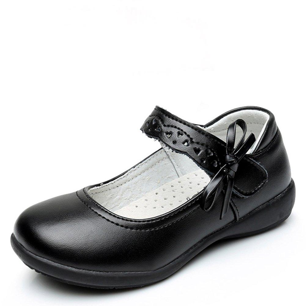 Chiximaxu Maxu Girl Uniform Leather Mary Jane Flat Shoes with Side Bow,Little Kid Size 12