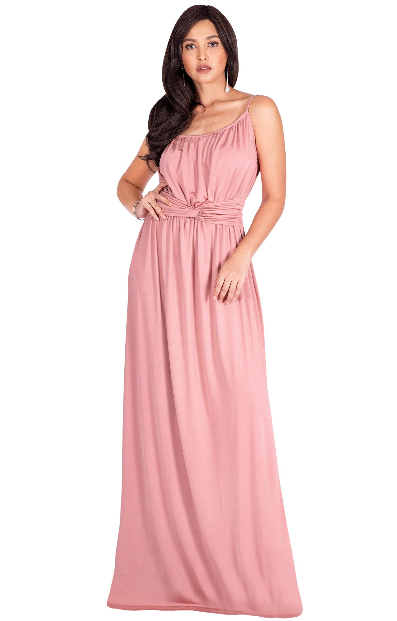 Koh Koh Plus Size Womens Long Sexy Spaghetti Strap Sleeveless V Neck Summer Beach Formal Bridesmaid Wedding Guest Party Floor Length Flowy Gown Gowns