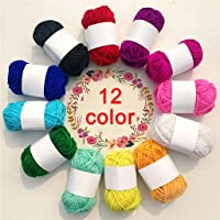 Cocity 12 Assorted Colors Rainbow DIY Soft Acrylic Yarn, Perfect for Hand Needlework Knitting and Crochet Woven Project…