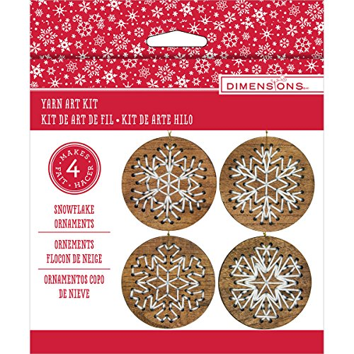 Stitch Art Wood Ornaments Kit 4'' Makes 4-Snowflakes by Dimensions