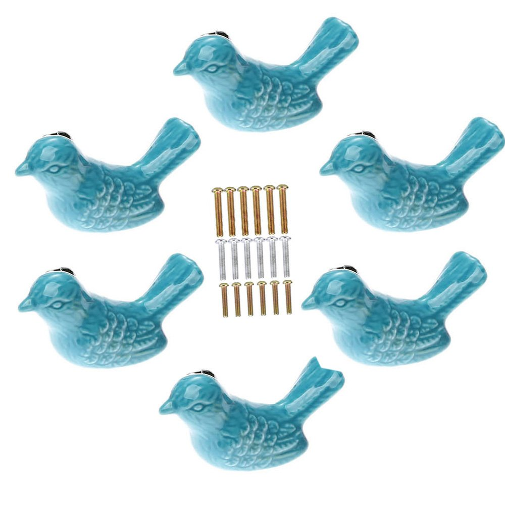 Corasays Bird Shape Ceramic Knobs DIY Door Drawer Cupboard Pull Handle Furniture Kitchen Handle Knobs and Pulls for Cabinets with Screws, Pack of 6 (Blue)