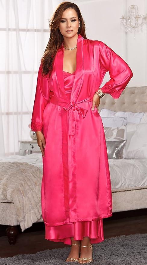 Wanglele Encaje De Satén De Seda Pijama Batas Kimono Camisón / Albornoces / Código,Vestido