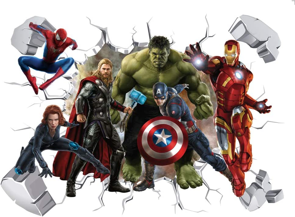 MOE MOE Marvel Wall Decal 3D Avengers Characters Set Wall Stickers for Living Room or Bedroom, 40×60 cm, PVC, Removable (15.7 x 23.7inches)