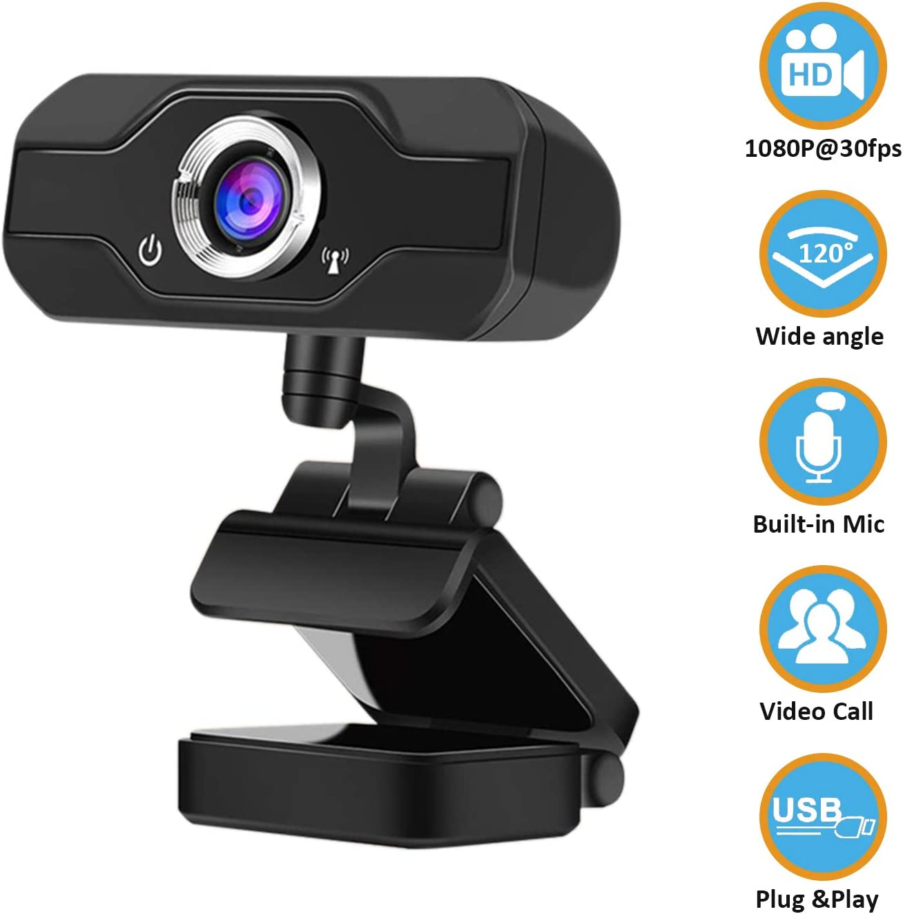1080P Webcam with Microphone, Full HD Web Camera for Computers with 120-Degree Widescreen, Adjustable Focus, Live Streaming Computer Web Camera with USB PC Webcam Video Calling Recording Conferencing