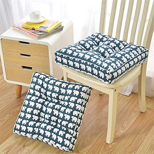 mangogo 2 - Pack Squareスーパーソフトパールコットンキャンバス椅子クッション厚み付けホームオフィスダイニングガーデンアウトドアシートパッドネイビーブルー 16