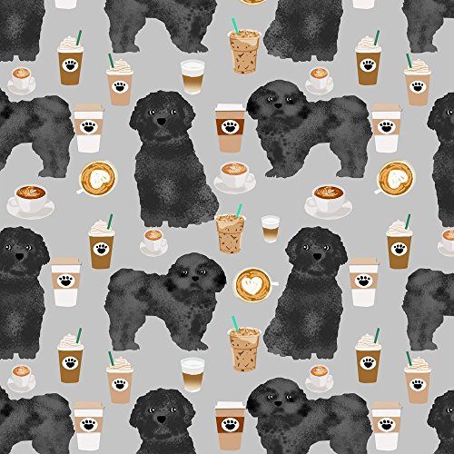 Shih Tzu Fleece (Shih Tzu Fabric Shih Tzu Dog Fabric Dogs And Coffees Fabric Grey/Black Shih Tzu - Grey by Petfriendly Printed on Fleece Fabric by the Yard by Spoonflower)
