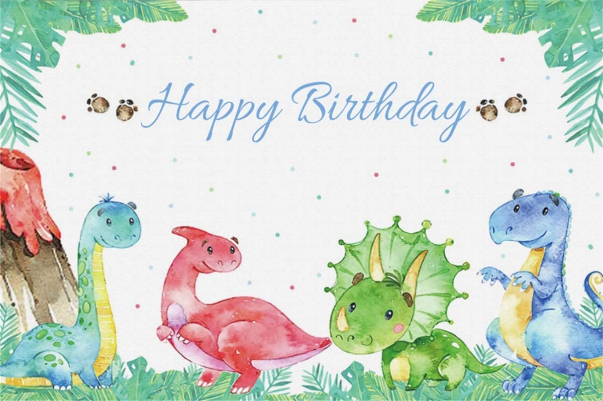 YEELE 8x6ft Dinosaurs Backdrop Boy Birthday Party Photography Background Safari Jungle Wild Green Forest Leaves Happy Birthday Party Infant Newborn Photos Artistic Portrait Photobooth Props Wallpaper