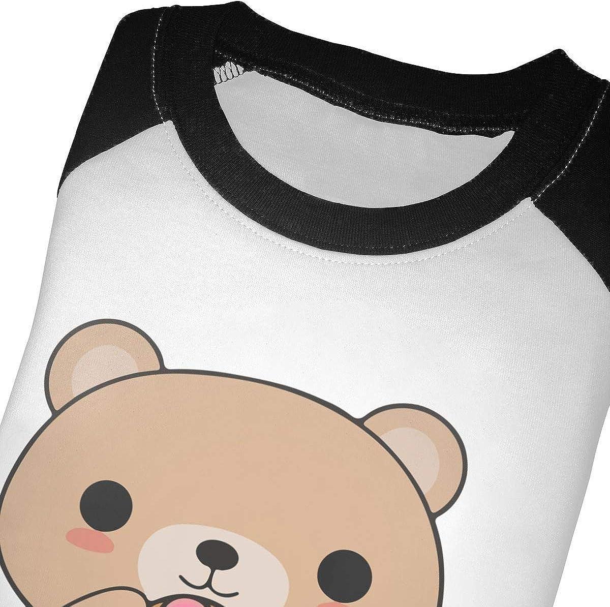QPKMRTZTX0 Boys Girls Kids /& Toddler Bear Eating A Donut Long Sleeve T-Shirt 100/% Cotton