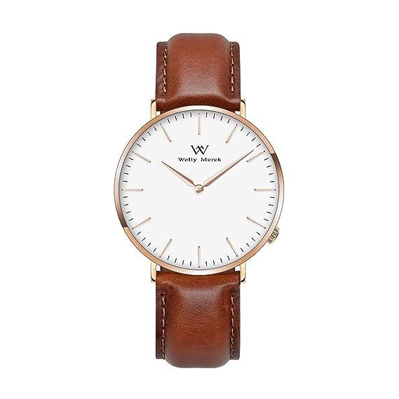Welly Merck Reloj Analógico para Mujer Cuarzo Suizo Pulsera con Cuero Marrón W-C5L6: Amazon.es: Relojes