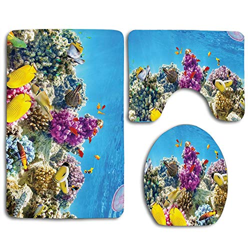Colorful Coral Reefs Exotic Fish School and Medusa Jellyfish at Lagoon Red Egyptian Sea Picture Bathroom Rug Mats Sets 3 Piece Toilet Carpet Rugs Includes Contour Mat and Lid Cover, Non Slip
