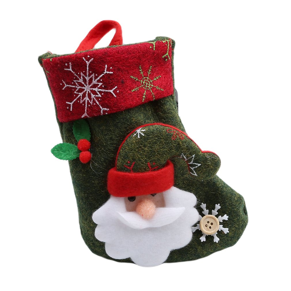 HENGSONG Christmas Socks Decoration Snowman Santa Claus Patterns Stocking Hanging Gift Bags Decors (Color 5)