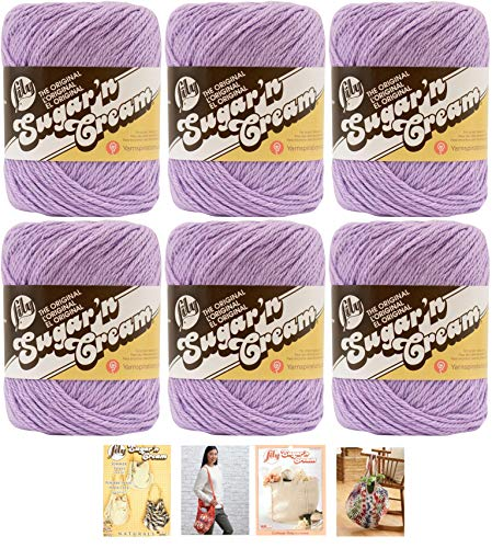 Bulk Buy: Lily Sugar'n Cream Yarn 100% Cotton Solids and Ombres (6-Pack) Medium #4 Worsted Plus 4 Lily Patterns (Soft Violet 00093)