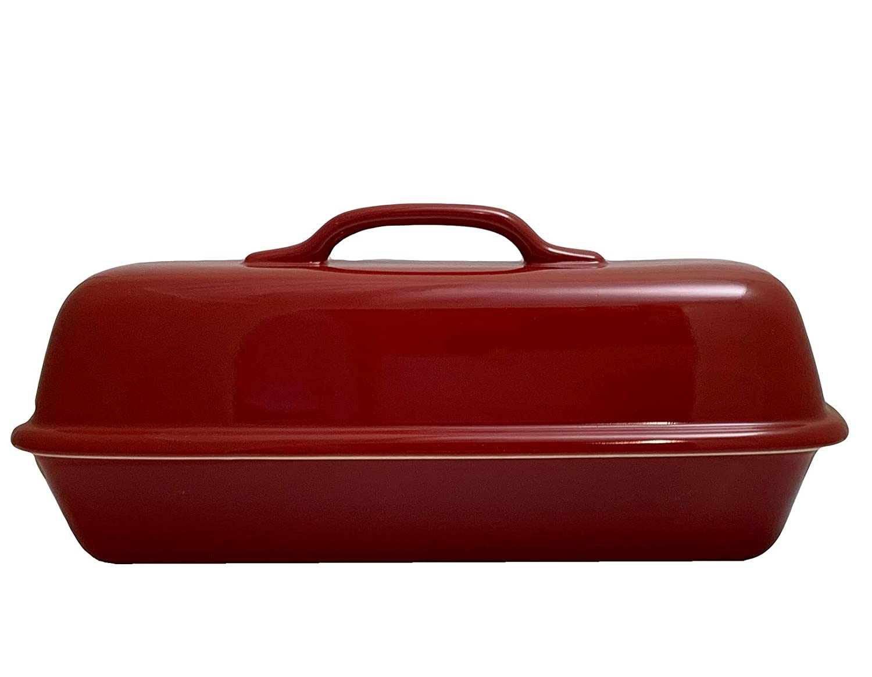 Sassafras Superstone Covered Baker with Red Glazed Exterior and Unglazed Interior