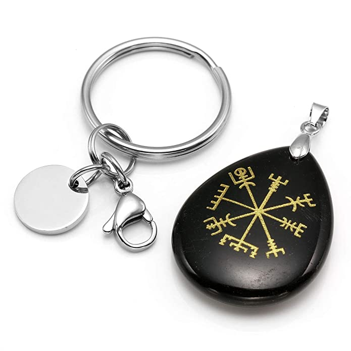 CrystalTears Customized Key Chain Oval Gems Guidepost Compass Vegvisir Pendant Semiprecious Stone Engraved Old Northern Europe Viking Rune Hanging ...