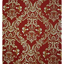 Damask Upholstery and Drapery , Jacquard Fabric Sold By the Yard (Burgandy)