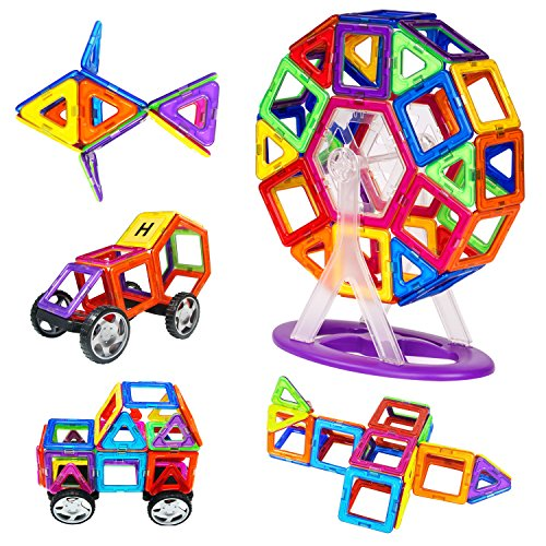 Zooawa Zooawa Magnetic Blocks Sets, Magnetic Tiles Plate Kits Discovery Construction Educational Shapes Toy 78 Pcs for Kids and Toddlers, Colorful price tips cheap