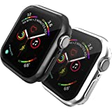 TERSELY[2 Pack] Case Overall Protector for Apple Watch Series 4 / Series 5 44mm,360°Full Coverage Protection Bumper All-Around Surround TPU Ultra Clear Case Cover for iWatch Series 4/5, Black+Transparent