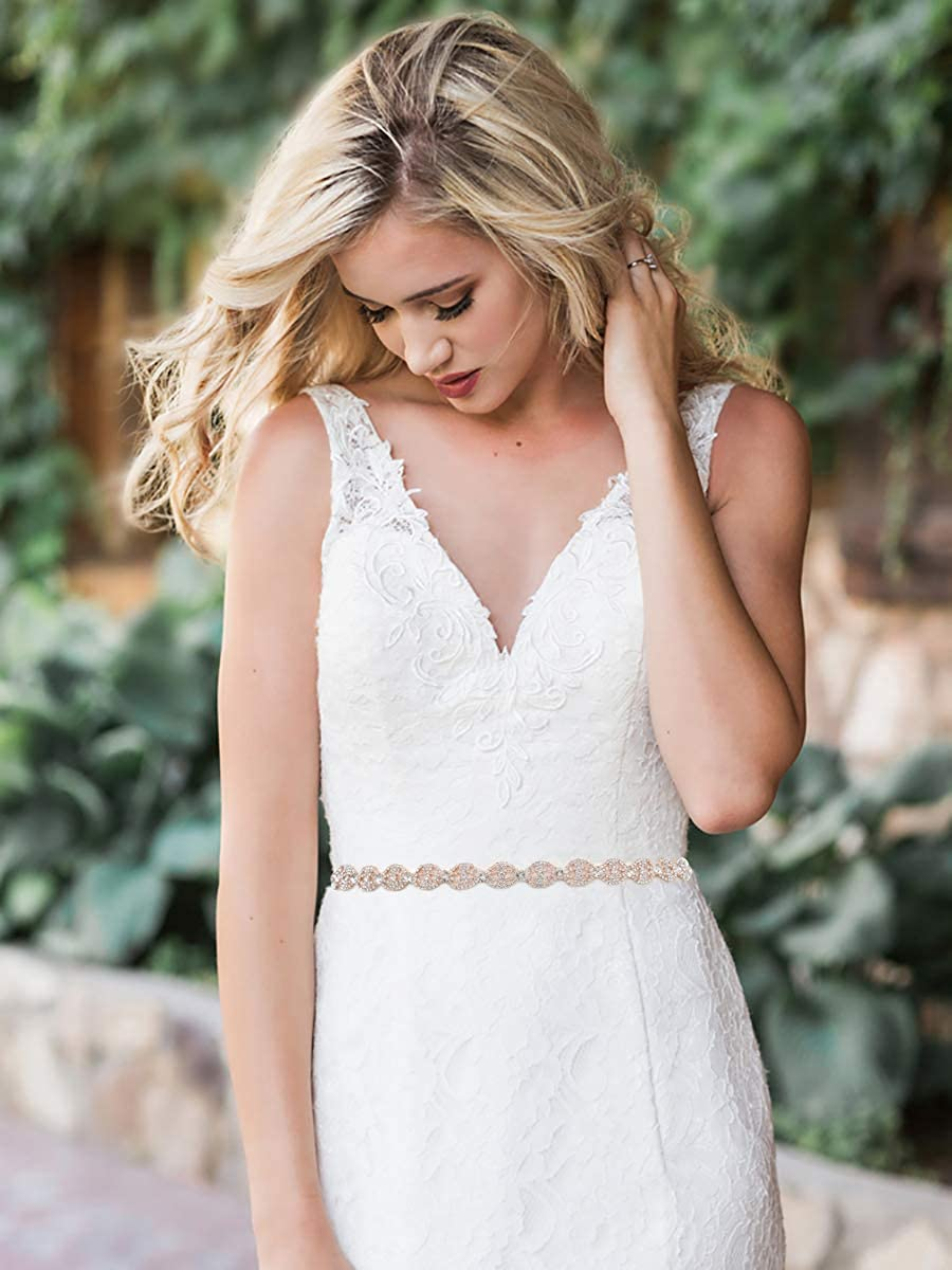 SWEETV Rhinestone Bridal Belt Wedding Dress Belt Sash Crystal Headband for Bride Bridesmaid