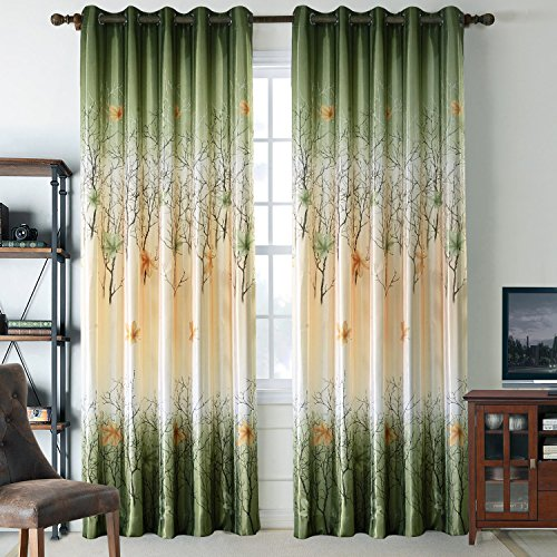 Anady Top Set of 2 Panels/Pair Drapes Polyester Green Abstract Forest and Yellow Maple Leaves Print Window Curtains Grommet Top,42W by 84L-Inches Each Panel