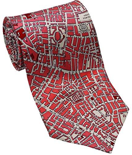 Josh Bach Mens CIVITAS Map of London Silk Necktie Red Made in USA