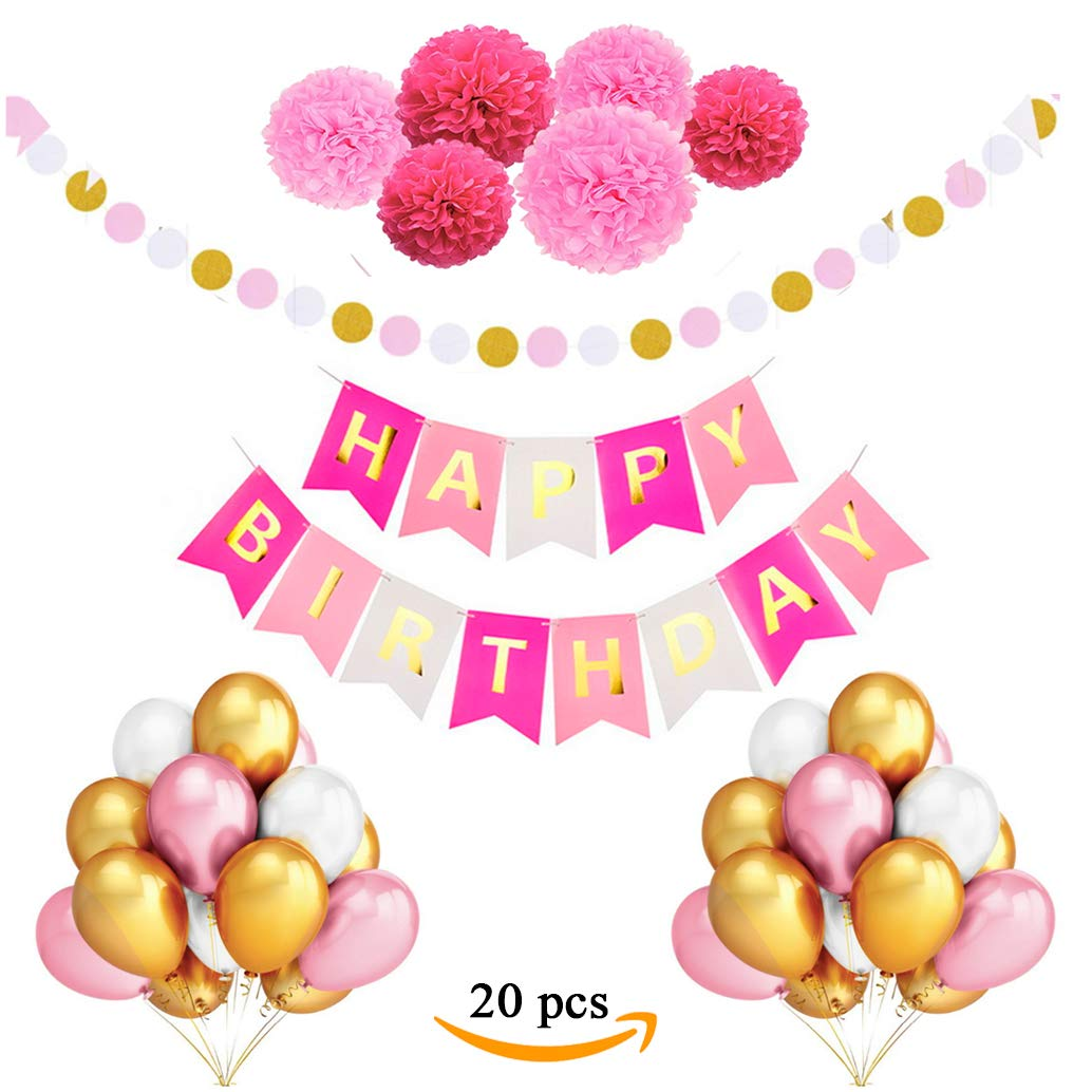 Birthday Decorations for Women and Girls - Pink Gold Happy Birthday Banner Birthday Kit Party Supplies