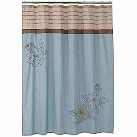 Croft U0026 Barrow Amelia Fabric Shower Curtain Blue Brown Embroidered Flower  Bath
