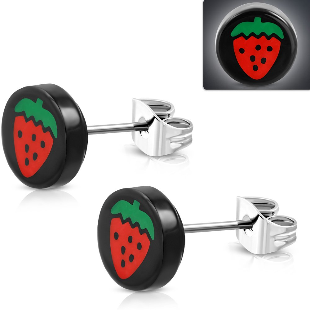 - TTE321 Stainless Steel Stud w// Black Acrylic 4-tone Strawberry Fruit Round Circle Earrings pair 10mm