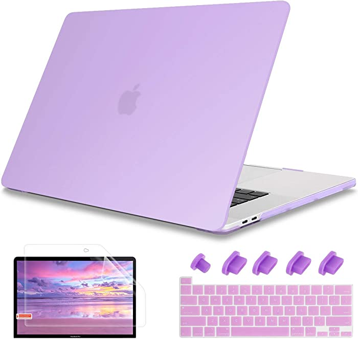 "May Chen MacBook Pro 13 inch Case 2020 Release, PC Hard Shell Case Cover with Keyboard Cover + Screen Protector + Dust Plug for MacBook Pro 13"" with Touch Bar Models: A2289 A2251, Purple"