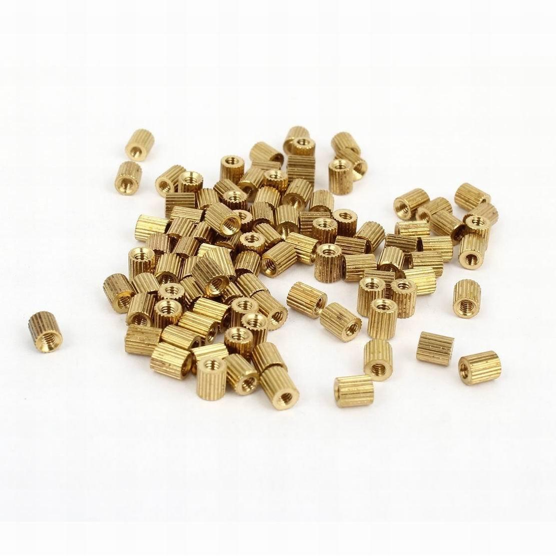 100 Pcs Female Threaded Pillars Brass Standoff Spacer Gold Tone M2x5mm