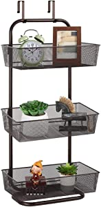Hanging Basket Over the Door Rack Wall Mounted Mesh Storage Organizer Holder with hooks for Kitchen Pantry Closet Bathroom
