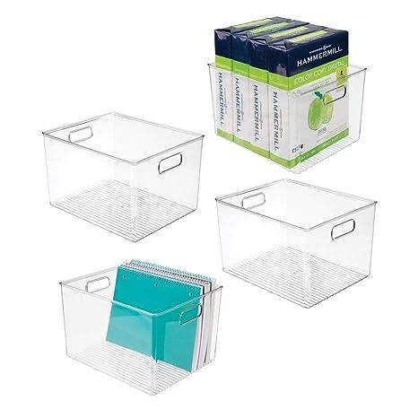 Amazon.com: mDesign Contenedor de almacenamiento de plástico ...