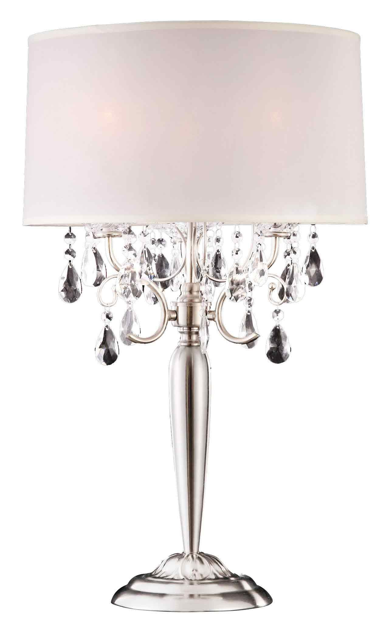 Ore International K-5109T 29.5-Inch Crystal Table Lamp, Silver