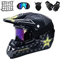Gnohnay Motorrad Crosshelm mit Brille (5 Stück) - Adult Verhindern Kollisio Motocross Helm MTB Motorradhelm für Damen Herren