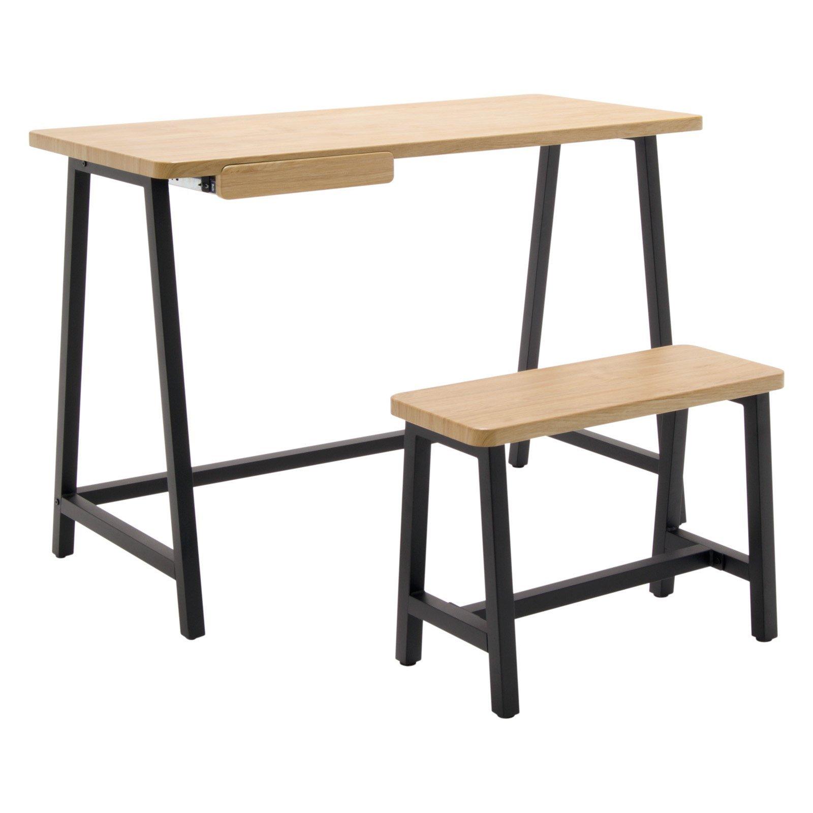Calico Designs Ashwood Homeroom Desk with Bench - Graphite, Ashwood