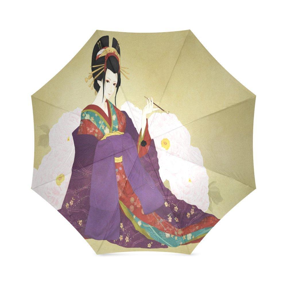 カスタムJapanese Geisha Girlアートコンパクト旅行防風防雨折りたたみ式傘 B0767H8SN5
