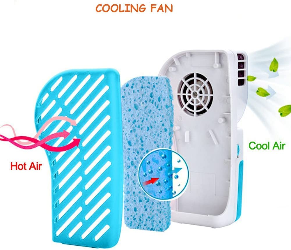 Table Desktop Bladeless Mini Fan USB /& Rechargeable Battery Powered Handheld Noiseless Water Cooling Air Conditioning Fan w// USB Cord,for Home,School,Office,Hiking,Camping,Backpacking,6.7x3.2x2.2