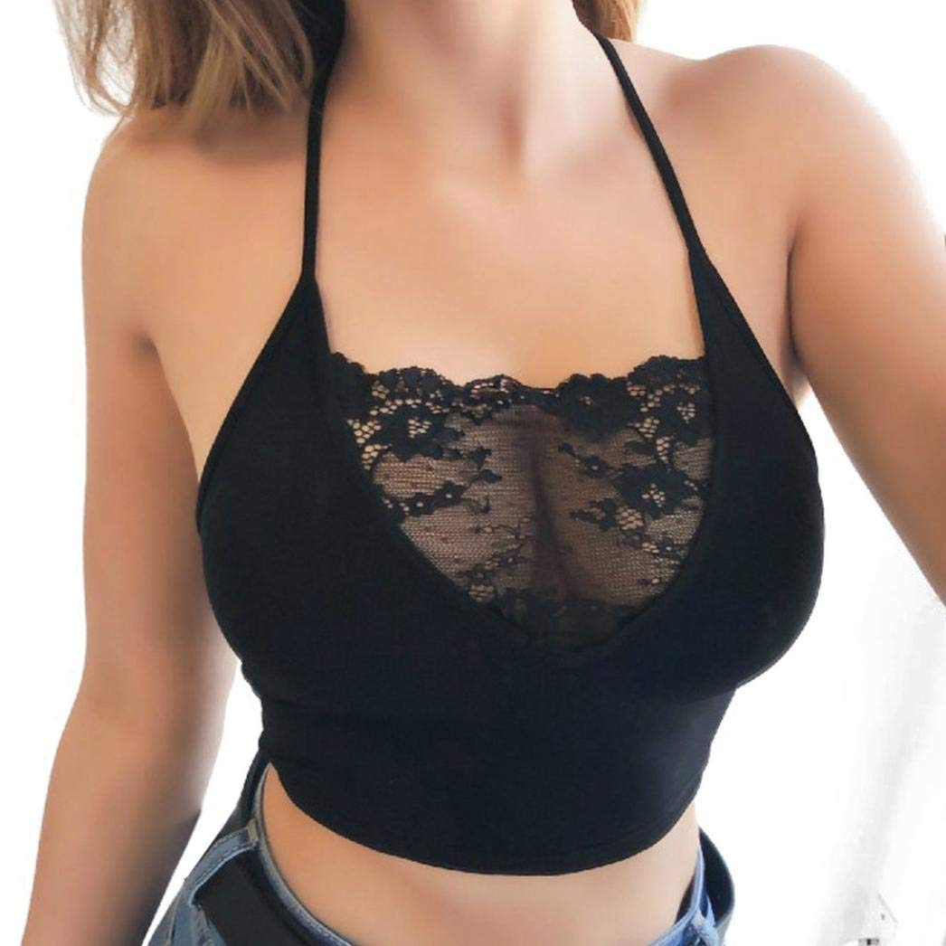 Bringbring Womens Sexy Lingerie Strappy Bra Sleeveless Lace Crop Tops