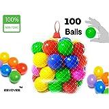 EevOveE 100 pcs Medium Size ( No Sharp Edges & Premium Quality Balls)Color Balls for Kids / Pool Balls Genuine Quality Balls (Medium Size) (Set of 100)