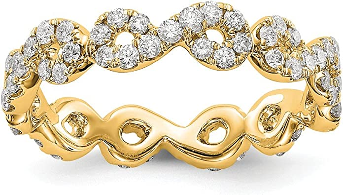 Solid 14k Yellow Gold Infinity Love Knot Symbol Shared U Prong Size 5 Diamond Anniversary Wedding Band Eternity Ring (.851 cttw.)