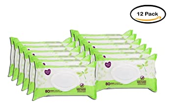 PACK OF 12 - Parents Choice Refreshing Cucumber Baby Wipes, 80 count