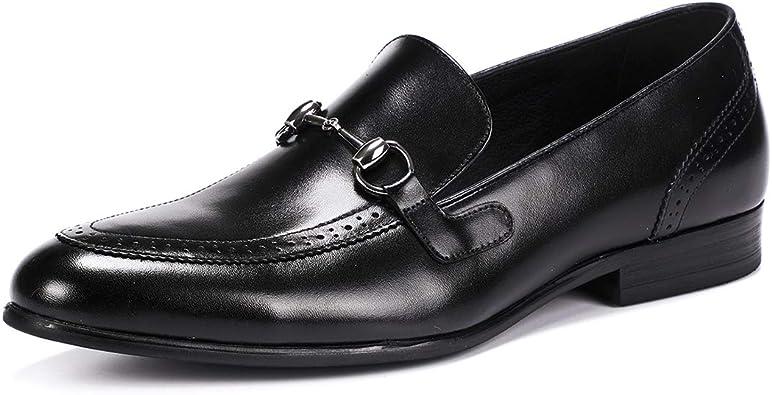 Mocasines de Cuero Real para Hombre Moda Formal Vintage Vestido del Dedo del pie Brogues de Negocios Zapatos de Barco Calzado en Punta: Amazon.es: Zapatos y complementos