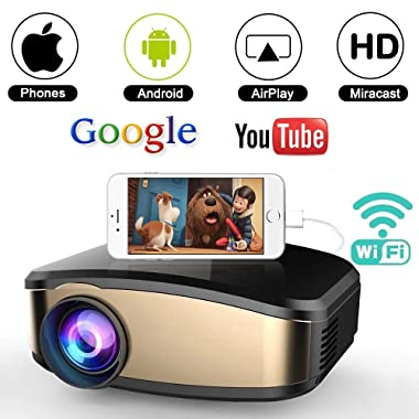 WiFi Movie Projector, WEILIANTE 50% Brighter LED Portable Mini Video Projector, WiFi Directly Connect with Smartphones Device (1080p Supported) Support USB HDMI VGA AV