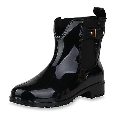 4c8ad6c5adc7c7 best-boots Damen Stiefeletten Gummistiefel Schnallen Profilsohle Schuhe  Schwarz Schnalle 36