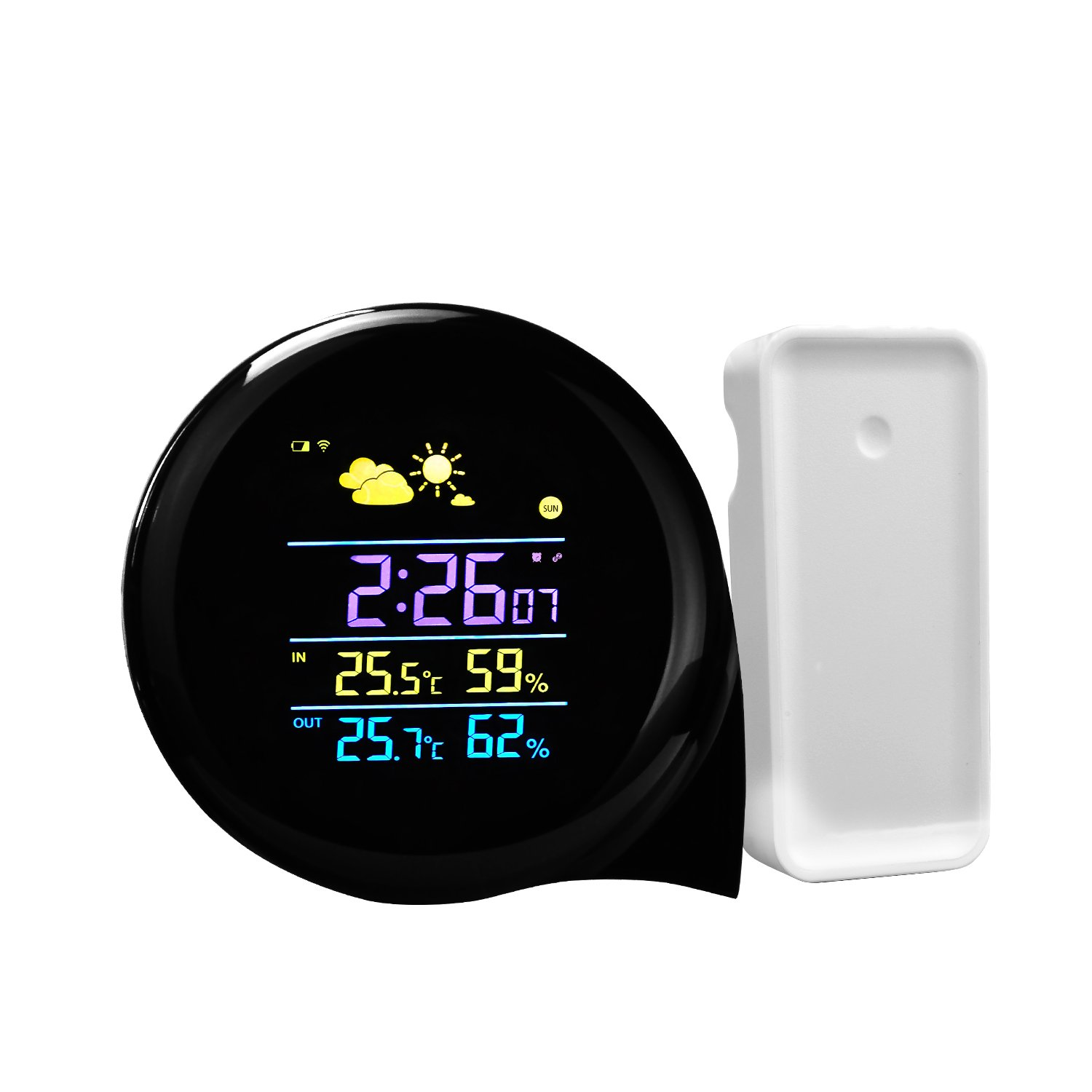 Weather Station Indoor Temperature Humidity Monitor Backlight Wireless Weather Forecast Stations Color Alarm Clock with Outdoor Remote Sensor , Black