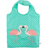 Tropical Pink Flamingo Green Foldable Shopping Bag Eco Friendly Fun Carry Food Bag