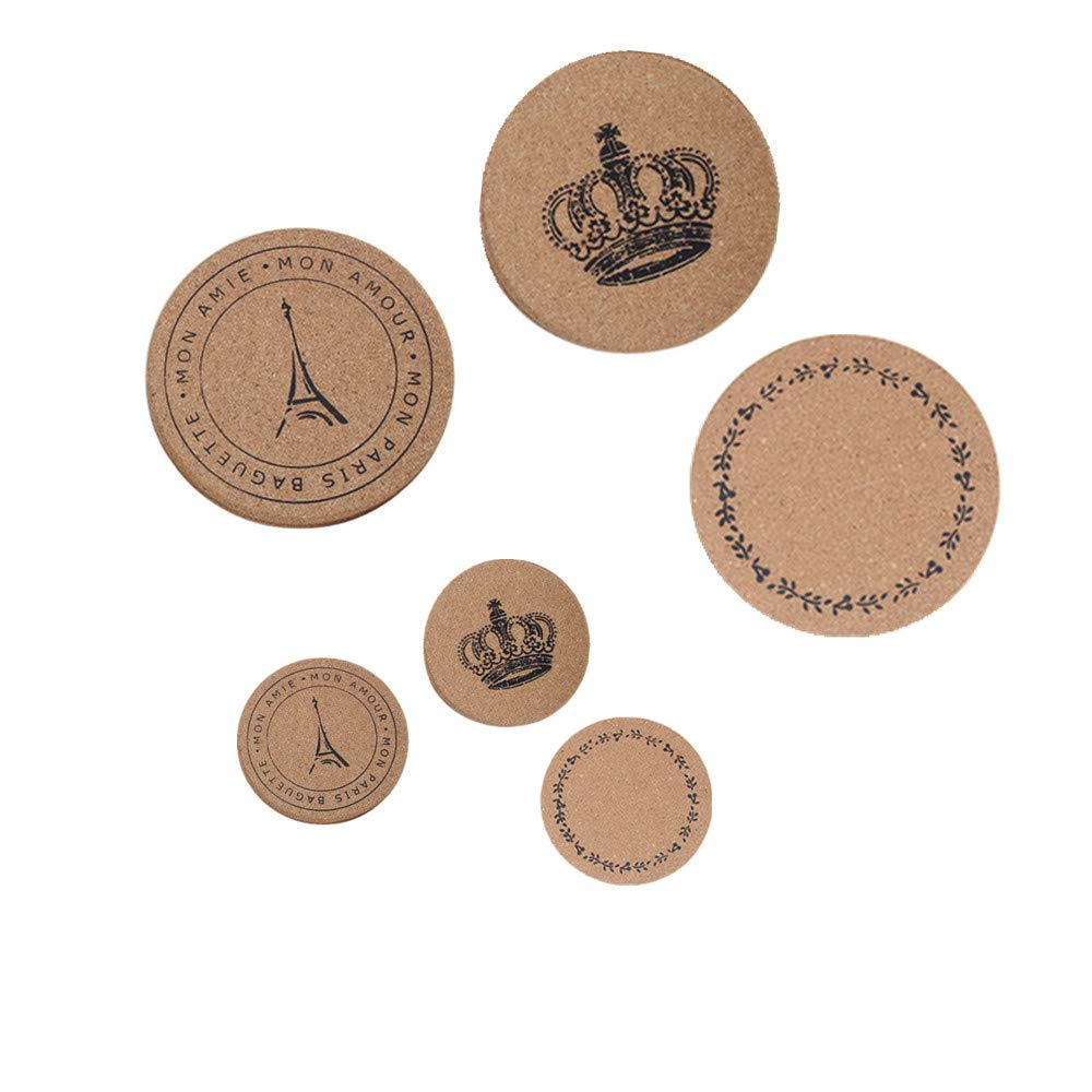 6 Pack Natural Cork Trivets Coasters 2 Sizes 3 Styles,Hot Pot Holders Prevent Furniture From Dirty and Scratched Suitable Cold Drinks Reusable Saucers,Non-Slip Pads for Plants,Cooking and Baking