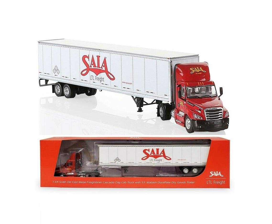 1:64 SAIA LTL Freight Freightliner Cascadia Day Cab 53' Wabash Trailer Nib Rare Collect Diecast Vehicle Toy